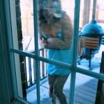 tgirl in skimpy pjs locked outside in winter